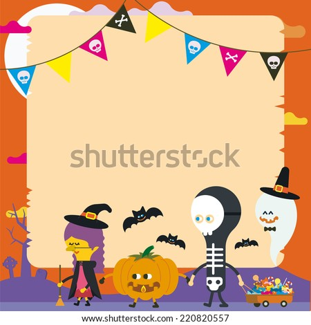 four friends dressed up walking with a shopping cart full of sweets in Halloween night - vector illustration - - stock vector