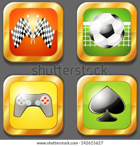 Four gaming icons - stock vector