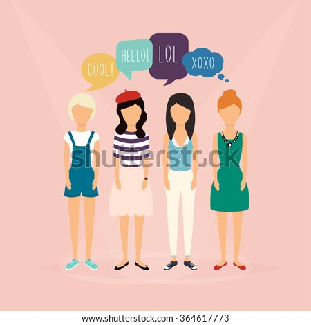Four girls communicate. Speech Bubbles with Social Media Words. Vector illustration of a communication concept, relating to feedback, reviews and discussion. - stock vector