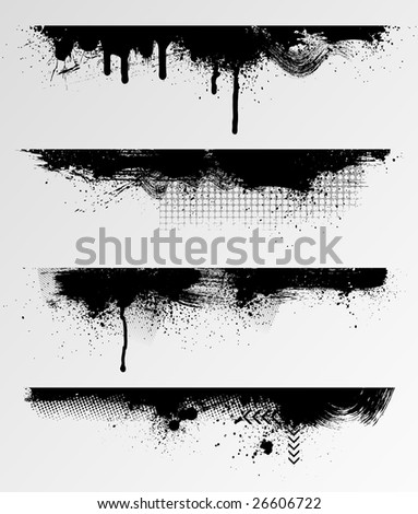 Four grunge edges for your design. - stock vector
