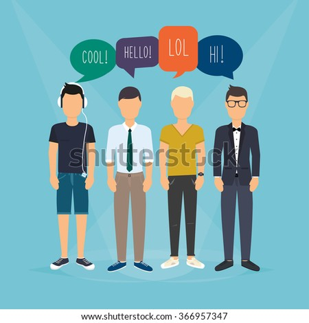 Four guys communicate. Speech Bubbles with Social Media Words. Vector illustration of a communication concept, relating to feedback, reviews and discussion. - stock vector