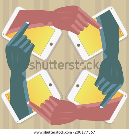 Four hands painting themselves in mobile phones Illustration of four hands painting themselves in mobile phones and working together.The grunge texture is removable from the background. - stock vector