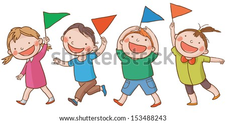 Four happy children with  little flags walking together. Back to School isolated objects on white background. Great illustration for a school books and more. VECTOR. Editorial. Education. - stock vector