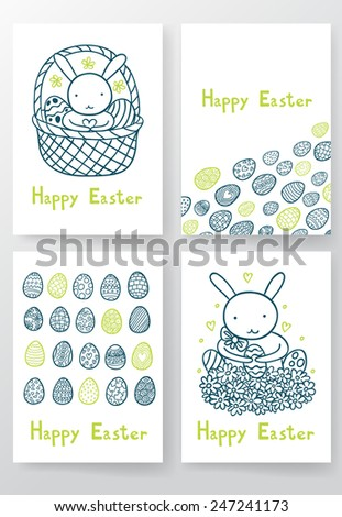 Four Happy Easter cards. - stock vector