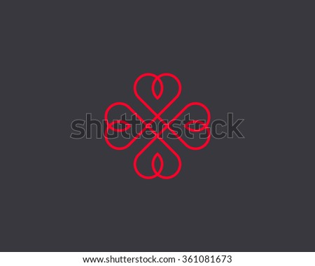 Four hearts vector symbol. Heart cross logotype. Abstract line flower leaf logo icon sign. - stock vector