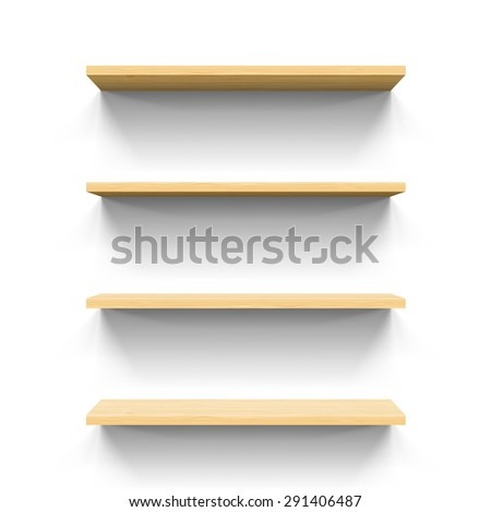 Four horizontal wooden shelves. Realistic illustration for design - stock vector