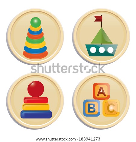 four icons with some colored toys in white background - stock vector