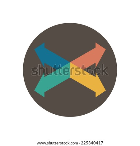 Four intersecting directional arrows. Vector illustration in trendy flat style isolated on white background - stock vector