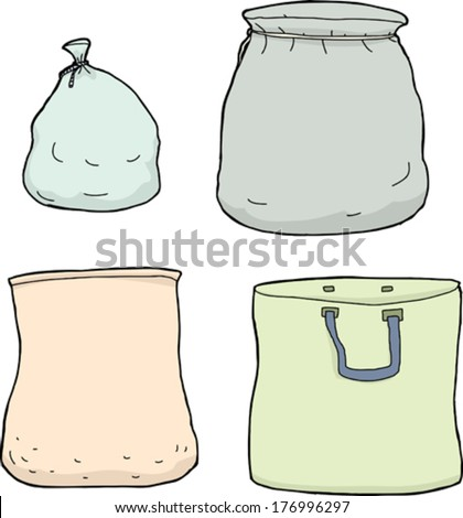 Four isolated blank bags on white background - stock vector