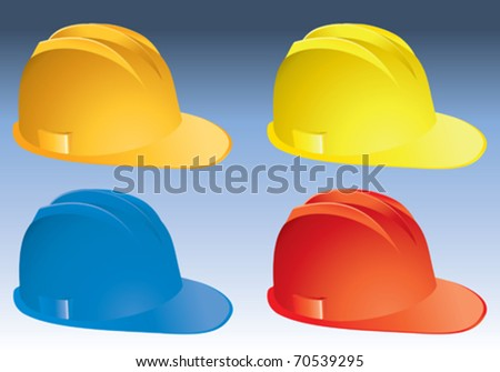 four Isolated builder�s helmets - stock vector