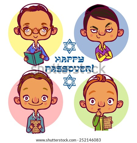 Four jewish boys asking questions for Pesah - stock vector