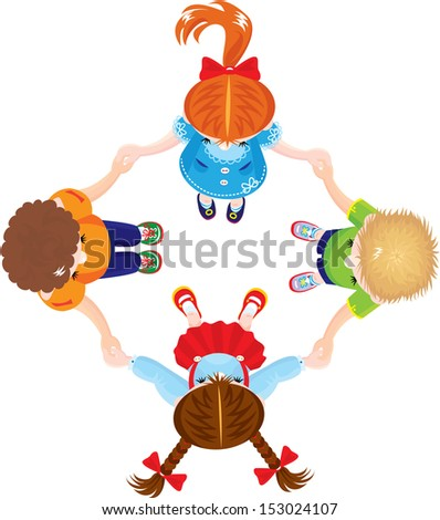 Four Kids Joining Hands to Form a Circle, isolated on white background - stock vector