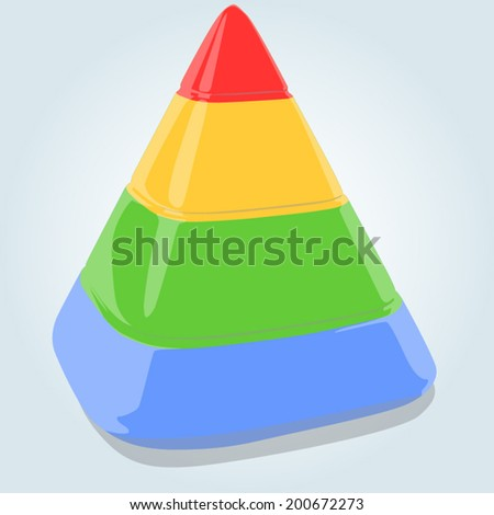 Four layers pyramid on bright blue background. EPS 10 vector illustration - stock vector