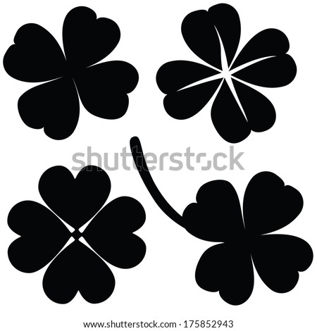 Four leaf clover collection, St. Patrick's day (vector illustration) - stock vector