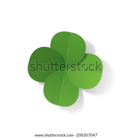 Four-leaf clover (3d vector illustration) - stock vector