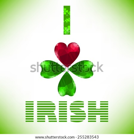 Four- leaf clover - Irish shamrock St Patrick's Day symbol. Useful for your design. Green glass clover  and red heart. St. Patrick's day green leaf isolated on white background. - stock vector