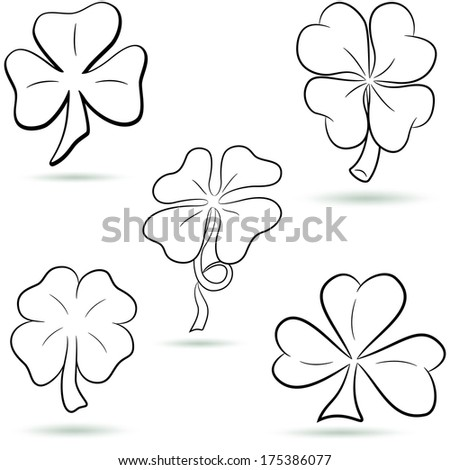 Four leaf clover, shamrock outline set. Vector - stock vector