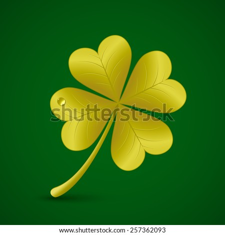 Four leaf golden clover. Vector illustration. St. Patrick's day symbol - stock vector