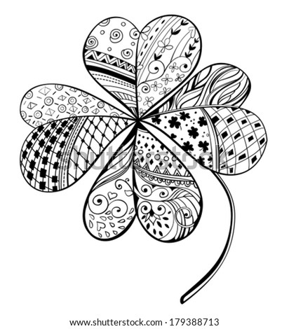 Four leaf ,Hand- drawn decorative clover filled with floral and geometrical patterns, St. Patrick's day card - stock vector