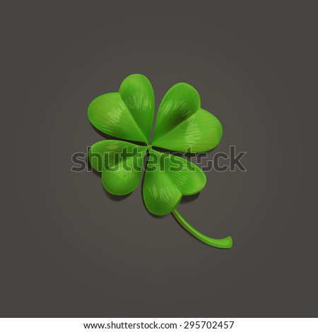 Four-leaf realistic lucky clover leaf on dark background. Vector illustration - stock vector