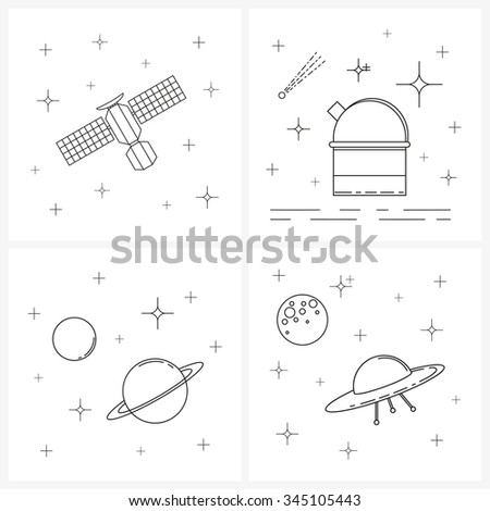 Four linear space illustrations. Space and astronomy linear items. Thin line and outline icons. Satellite and stars. Stars and planets. Space observatory. Moon and UFO. - stock vector