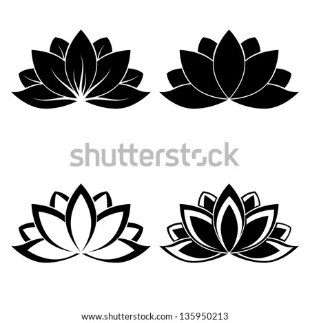 Four Lotus Silhouettes For Design Vector Stock
