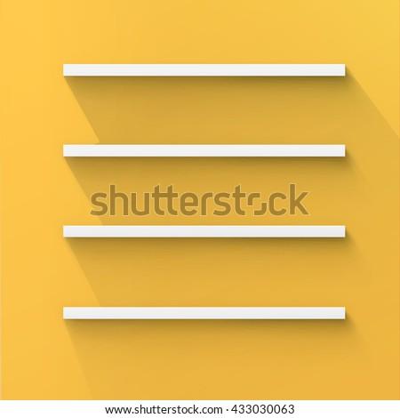 Four Minimal 3d Bookshelf Design Vector  - stock vector