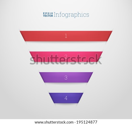 Four minimal 3d cut-out paper ribbon illustration for workflow layout, web site banner, numbered infographics diagram - red, pink, purple, blue version - stock vector