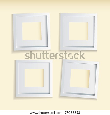 Four modern clean picture frames with beige background - stock vector