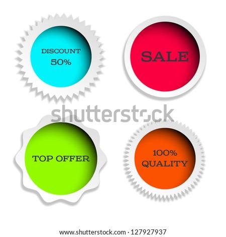 four multicolored label - stock vector