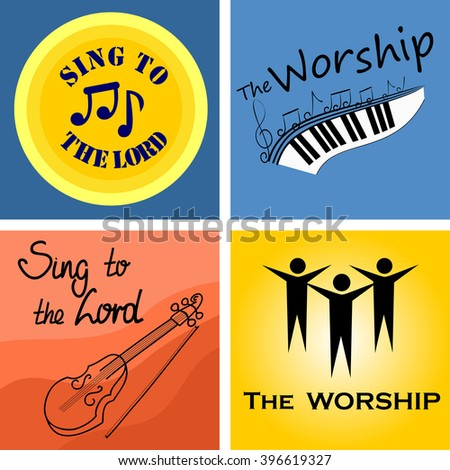 four musical logo for the Church and worship - stock vector