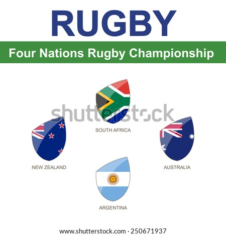Four Nations Rugby Championship, 4 Flag - stock vector