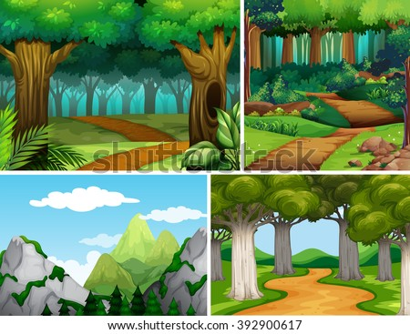 Four nature scenes with forest and mountain illustration - stock vector