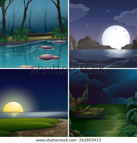 Four night scenes of the forest and lake - stock vector