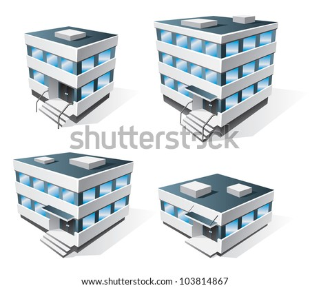 Four office buildings vector icons in cartoon style - stock vector