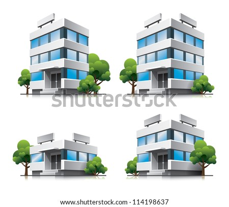 Four office vector buildings in perspective view with blue glass facade and green trees in cartoon style  - stock vector