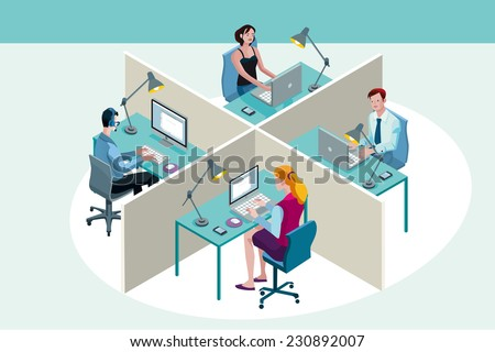 Four office workers in a office, working sitting at their desks, with their laptop ad computer. Isometric perspective. - stock vector