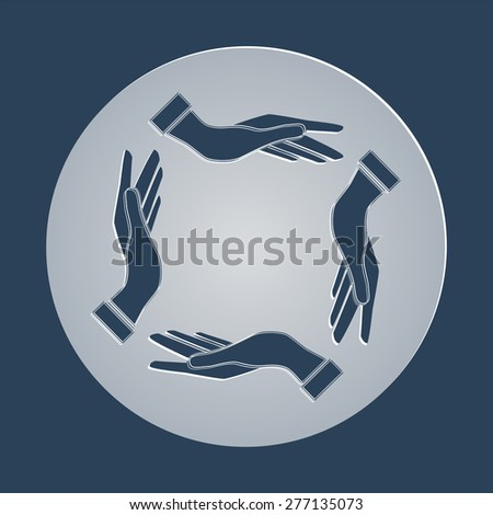 four opened hands in a pray gesture vector - stock vector