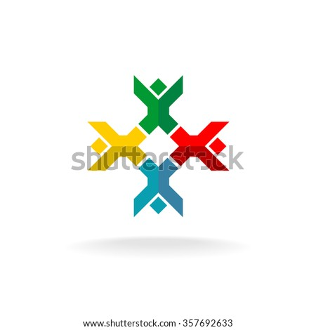 Four people in a round logo. Colorful geometric flat style symbol. - stock vector