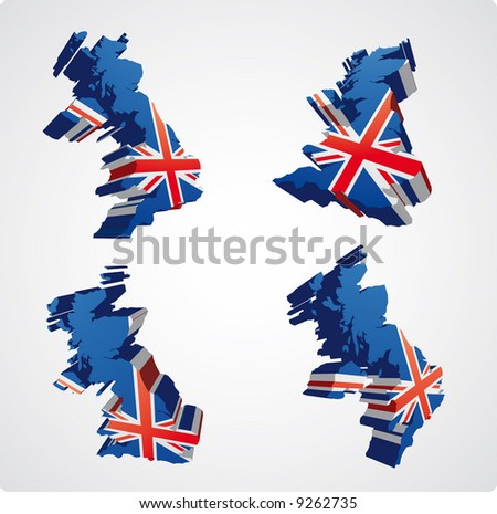four perspective  views in three dimensional style of the uk with the uk flag inside - stock vector