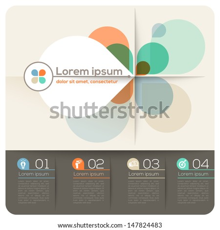 Four Petal Shape Abstract Design Layout for Presentation / Brochure / Website / magazine / Print - stock vector