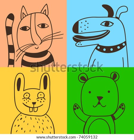 four pets - stock vector