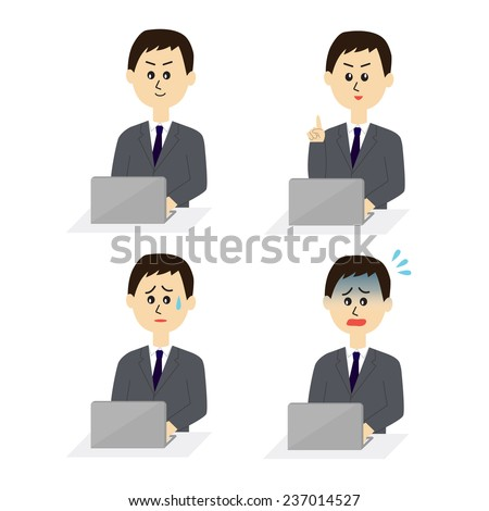 Four pose variations of young male employee with a computer, vector illustration - stock vector