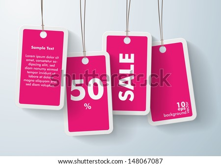 Four purple price stickers on the grey background. Eps 10 vector file. - stock vector