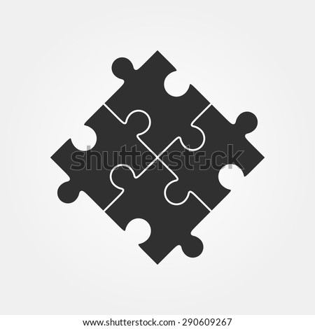 Four puzzle pieces vector illustration, isolated on white background. - stock vector