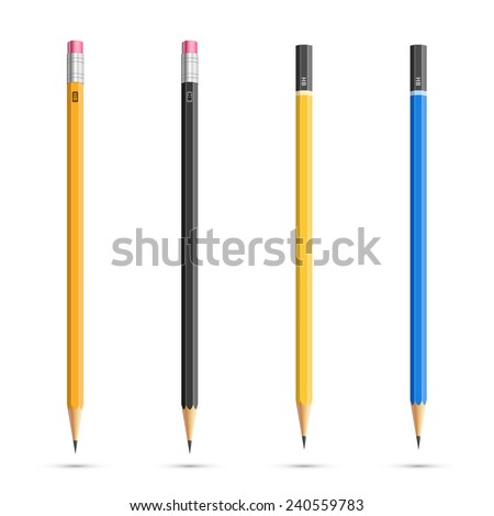 Four realistic vector pencils with diferent classic design - stock vector