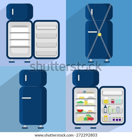 Four refrigerators. Four refrigerators: open and empty, closed, locked, open and full of food - stock vector