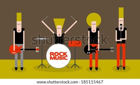 Four rock musicians, cartoon vector illustration - stock vector