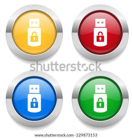 Four round buttons with secure usb icon and metallic border - stock vector