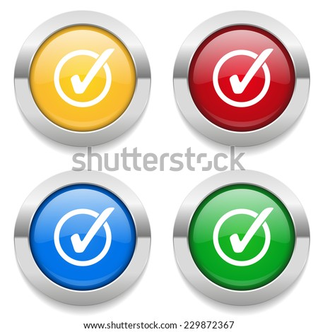 Four round buttons with vote icon and metallic border - stock vector